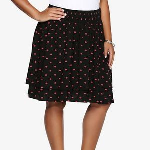 Torrid lip print double layered stretch skirt